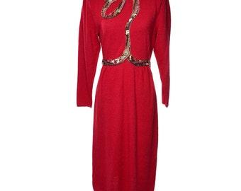 1980's Vintage Bullocks Wilshire Beaded Red Knit Dress