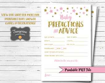 Twinkle Twinkle Little Star Baby Shower Games - Pink and Gold Baby Shower - Baby Predictions Cards - Printable PDF Files - Instant Download
