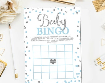 Blue Silver Baby Shower Bingo Game, Baby Bingo Baby Shower Games Glitter Confetti Blue Baby Boy Shower Game Print Instant Download BB9
