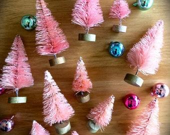 Mini Pink Bottle Brush Trees-Lot of Three 2.5 Inch-Mini Flocked Pastel Shabby Chic Pines-Putz Village-Fairy House-Easter-Spring Terrarium