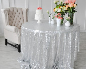 """Silver Sequin Tablecloth Table Cover for rectangle or round tables - 90"""" x 132"""""""
