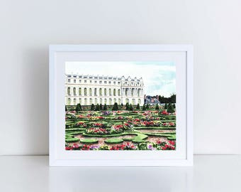 Gardens of Versailles Giclee Print of Watercolor Painting Paris Travel Photography Royal Palace Architecture Topiary France Garden Art Decor