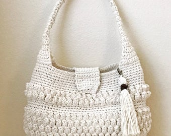 Crochet Bag with Tassel Pattern - Easy Crochet Purse  - Crochet Handbag - Crochet Tote - CROCHET PATTERN-Crochet Patterns by Deborah O'Leary