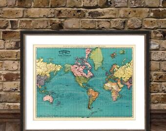 Vintage world map - Antique world map print  - Old map of the world - Archival world map  print - TWO versions