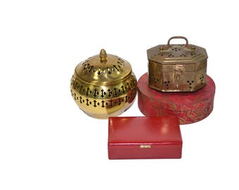 Vintage Brass Boxes Cricket Boxes Red Boxes Stash Boxes Boho Boxes Red and Brass Decor