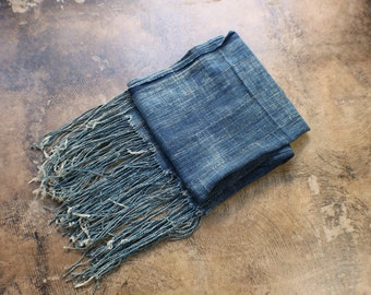 Indigo Textile / Vintage Cotton Fringed Wrap / African Indigo Shawl / Distressed Denim