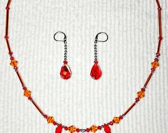 CRAZY SUMMER SALE! 50% Off orders 150 or more. Use code HALFOFF150 - 150 Citrus Swarovski Necklace Earrings Set