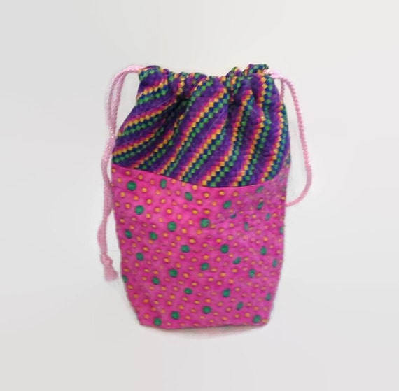 Quilted Knitting Bag Pattern : Quilted knitting bag pink and purple tote drawstring fabric