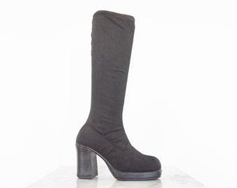 90s Black Nylon Platform Stocking Boots / Calf-High Boots / Women's Size 6.5 US - 37 Eur - 4.5 UK