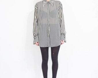 90s Sheer Black Ivory Stripe Button Blouse