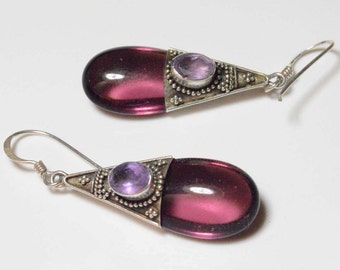 SALE Vintage Sterling Silver Purple Glass and Amethyst Pierced Dangle Earrings
