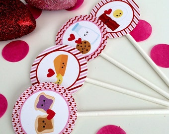 Valentine's Day Cupcake Toppers Digital Download Perfect Pair DIGITAL DOWNLOAD