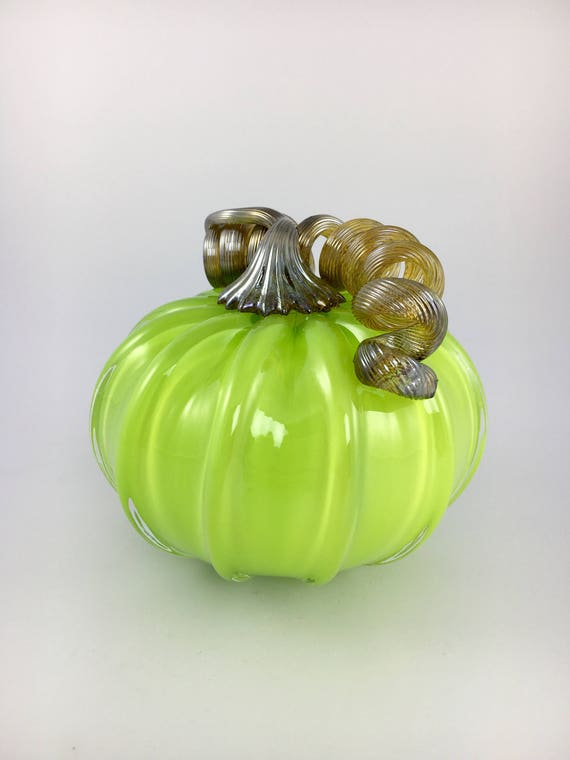 "4"" Glass Pumpkin by Jonathan Winfisky - Opaque Spring Green - Hand Blown Glass"