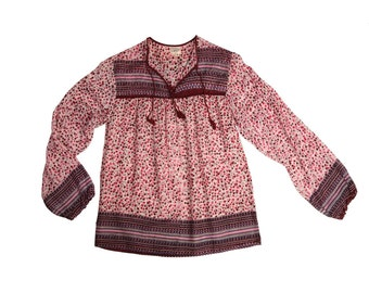 Beautiful Red Floral Indian Gauze Blouse