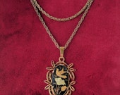 Damascene pendant and screw back pierced earring set with birds and flowers in filigree setting enchanting