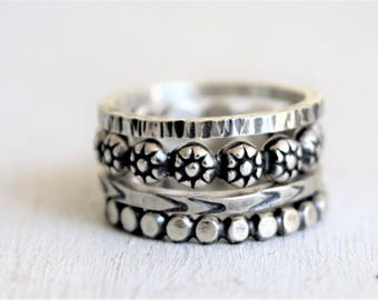 Sterling Silver Boho Ring Stack - Daisy RIng - Flattened Ball Bead Ring - 14 Gauge Square Hammered Band - Hand Stamped Band - Metalwork