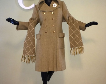 Vintage 60s 70s MOD Military Wool Peacoat! 1960s 1970s Twiggy Carnaby Street London Style Matching Plaid Scarf Extreme Large Collar Med LG