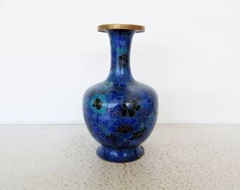 Cloisonne Vase Rare Shape Blue Fluted Real Brass Rim Enameled Inside