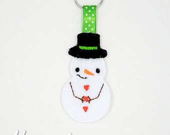 Snowman Keychain Embroidery Design, snowman, winter embroidery, keychain embroidery, machine embroidery, ITH, in the hoop, snowman design