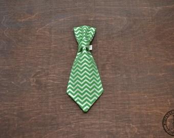 Green and Metallic Silver Chevron Dog Tie