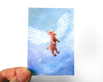 Flying Pig Print, CLEARANCE SALE, ACEO Art Card, Farm Animal Lover Gift, Angel Wings, Bedroom Decor, Nursery Wall Art, Reduced to Clear