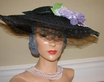 Lilacs for Springtime!  Black Straw and Horsehair Vintage Platter Hat with Glorious Flowers by Jean Allen for Gage 1930-40