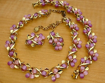 Vintage Lavender And Pink Thermoset Necklace Bracelet Earrings Parure Set Summer Bridesmaid Prom Jewelry 1950s