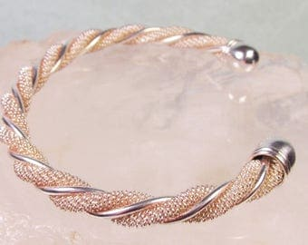 925 Solid Sterling Silver Cuff Bracelet, Beautiful Twisted Mesh and Wire