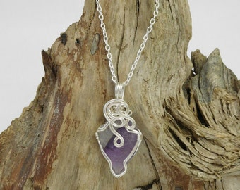 Amethyst arrowhead wire wrapped necklace