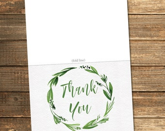 Greenery Thank You Card / Green Baby Shower / Neutral Baby Shower / Printable Thank You Cards / PRINTABLE FILE