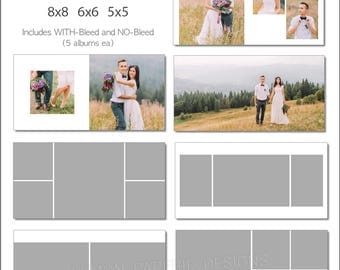 SALE 12x12 Album Template 60 Page for ANY Lab - Includes 12x12, 10x10, 8x8, 6x6, 5x5 - INSTANT Download - ALB32