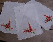Christmas Drink Napkins, Poinsettia Candle Napkins, Small Napkins, Set of 3, White Decorative Holiday Napkin