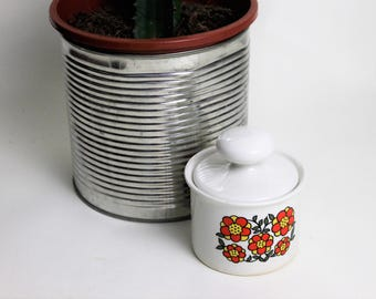 Taunton Vale Red Flower Design Condiments/Honey Pot with Lid