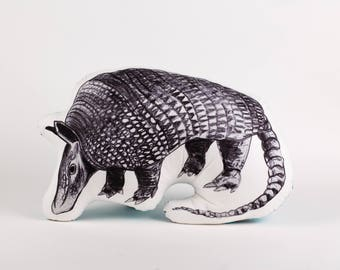 Quirky armadillo pillow, decorative cushion, stuffed armadillo