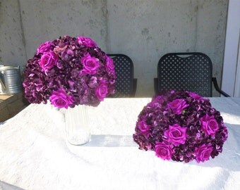 Plum, purple pillar decoratoion, wedding decoration, artificial flower arrangment, table decoration