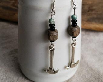 Carpenter Hammer Earrings, Turquoise Bead Pierced Silver Tone Dangles