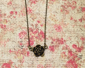 Antique Bronze Flower Necklace