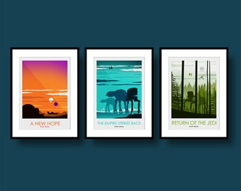 Star Wars Movie Poster Set - Poster Art Print - Wall Art - Poster Print