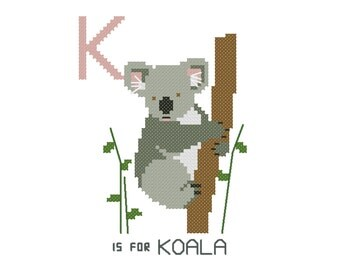 K is for Koala   Modern cross stitch PATTERN   Alphabet Animalia
