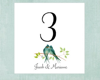 Love Bird Table Cards  Vintage Style Illustration,  Wedding Table Number, Table Tents, Blue Teal Love Bird Anniversary, Bridal Shower LB100
