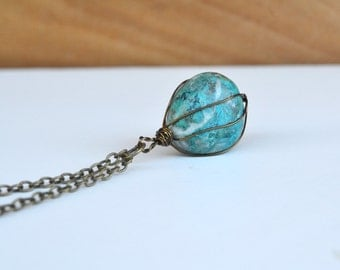 Chrysocolla Necklace, Blue Chrysocolla, Round Stone Necklace, Tumbled Chrysocolla, Spring Jewelry, Canadian Shop, Gifts for Mom