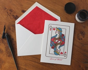 Queen of Hearts Letterpress Greetings Card