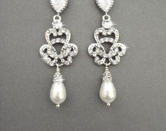 Pearl earrings, Brides earrings, Swarovski pearl earrings, Sterling posts, Crystal earrings, Art deco style, Wedding earrings, ANGELINA