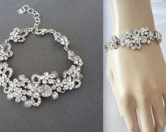 Crystal rhinestone bracelet ~ Brides bracelet ~ Wedding bracelet ~ Crystal statement bracelet ~ Bridal Jewelry, Wedding jewelry, MEG