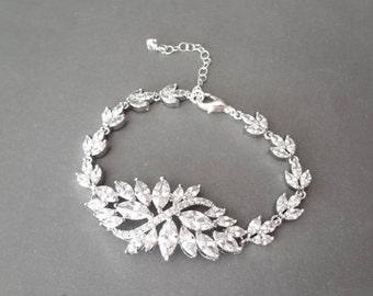 Cubic Zirconia bracelet, Brides bracelet ~ Wedding bracelet, Bridal jewelry, Marquise cut, High quality, AAA+ Cubic Zirconias ~ Lux ~ LILLY
