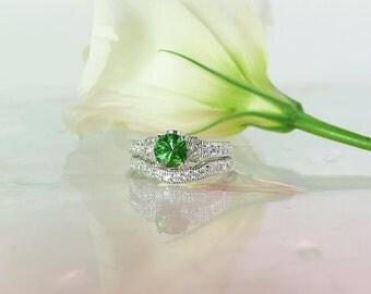 Tourmaline Wedding Set, Tourmaline Ring, Green Tourmaline, Green Tourmaline Ring, Tourmaline Engagement Ring, Natural Tourmaline, Tourmaline