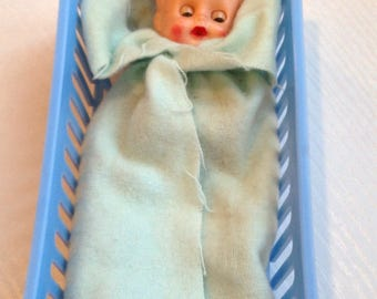 Sweet Vintage Plastic Doll with Cradle
