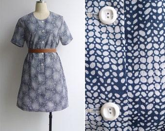 Vintage 70's Teal Blue Abstract Orla Kiely-esque Leaf Print Dress M or L