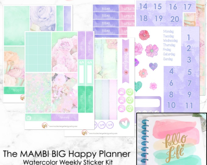The BIG Happy Planner Watercolor Weekly Planner Sticker Kit for the MAMBI BIG Happy Planner