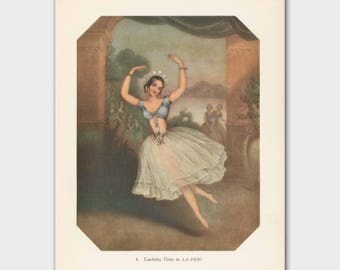 "Ballet Dancer, Vintage Gypsy Art (Boho Decor Dorm, 1940s Dancer Gift, Ballerina Print) --- ""Grand Jeté Ballon"""